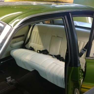 Ford Falcon rear seat shown with new upholstery